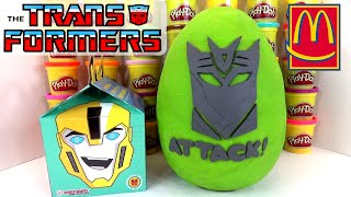 GIANT TRANSFORMERS ROBOTS IN DISGUISE PLAY DOH SURPRISE EGG MCDONALDS HAPPY MEAL TOYS HUEVO SORPRESA