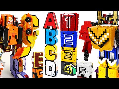 Thumbnail: Alphabet combine transformers VS Power Rangers Zyuohger number cube - DuDuPopTOY