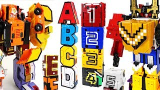 Alphabet combine transformers VS Power Rangers Zyuohger number cube - DuDuPopTOY
