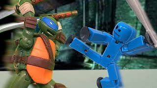 TMNT 2017 Stop Motion Leonardo VS Stikbot Special!