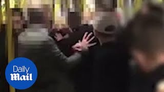 Woman gets punched in the face trying to stop a fight on the tram