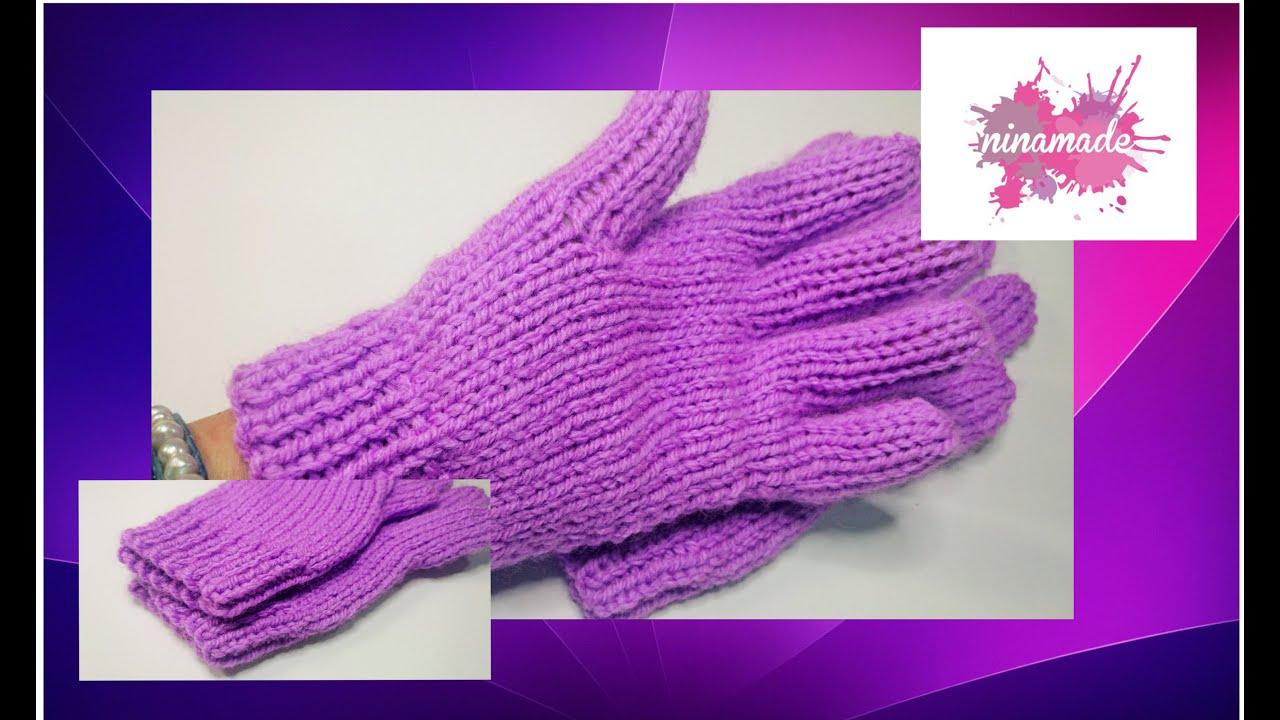 DIY. Como tejer guantes con dos agujas!! - YouTube