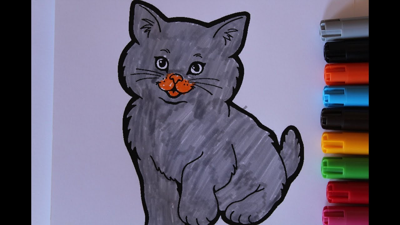 How To Colring pages-Cute Cat With a Bow Coloring Pages ...