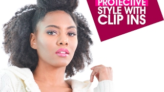 QUICK Protective Style for Short 4C Natural Hair   Kinky Clip Ins    Chanel Oldham