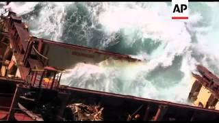 Stern of stricken oil tanker sinks after breaking away from wreck