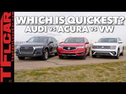Will 2.0L Turbos Rule the World? 2018 Audi Q7 vs Acura MDX vs VW Atlas Drag Race