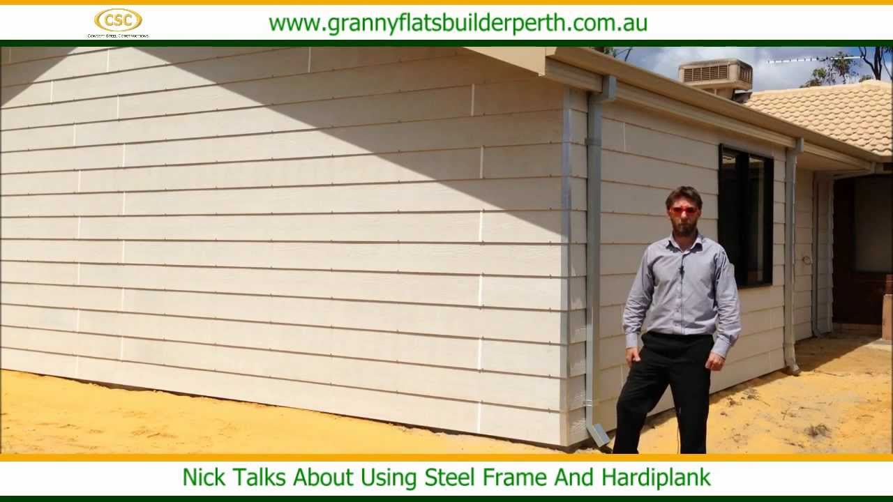 Using Steel Frame And Hardiplank - Granny Flats Builder Perth - YouTube