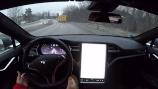 Tesla Model S HW2 FW 8.1 17.11.3 Autosteer test run on local road