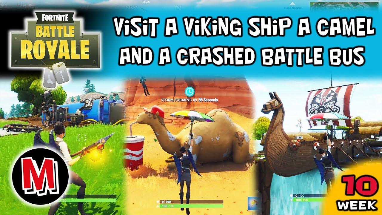 Visit A Viking Ship A Camel And A Crashed Battle Bus Fortnite Season
