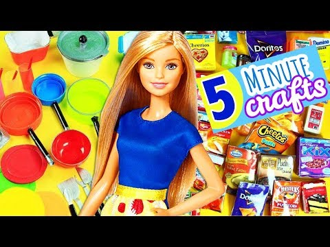 100 DIY Miniature Barbie Dollhouse Accessories  & Lifehacks #6  -  Food & Kitchen - simplekidscrafts