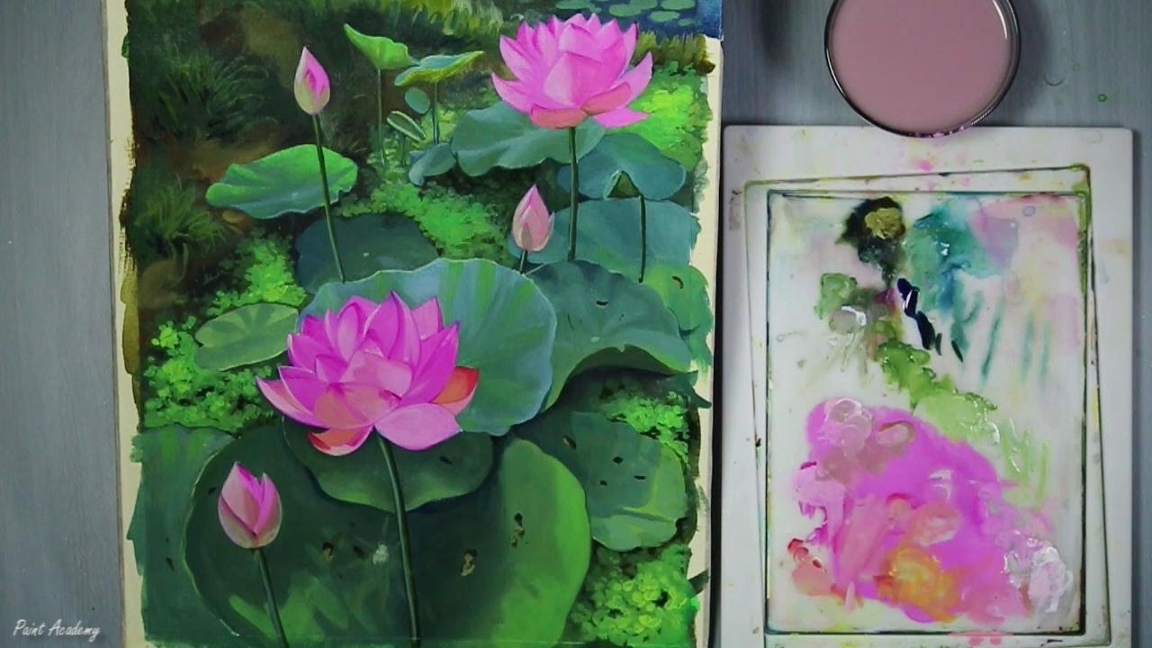 Acrylic Painting Lotus Flowers Speed Painting Youtube