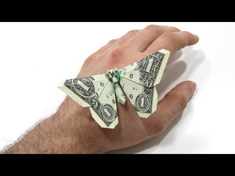 Origami Dollar Bill Butterfly Tutorial (Michael LaFosse) 折り紙  蝶 $1 Billete Mariposa