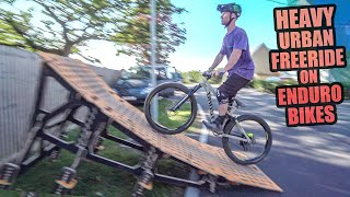 HEAVY URBAN MTB FREERIDE ON ENDURO BIKES!
