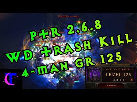 Diablo III PTR 2.6.8 - Witch Doctor Trash Killing Testing (4man GR 125)