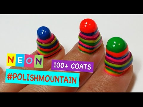 100+ Coats of Nail Polish On Short Nails | #POLISHMOUNTAIN NEON