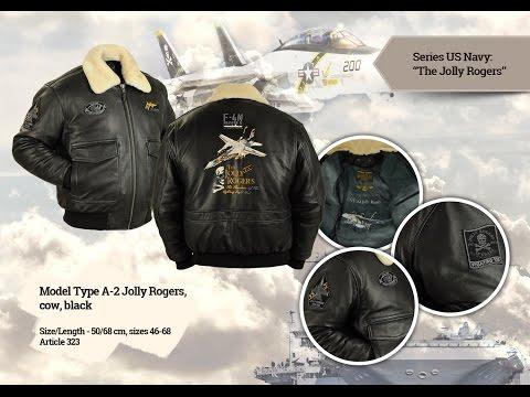 Лётная зимняя куртка А-2 Jolly Rogers Black (Airborne Apparel)