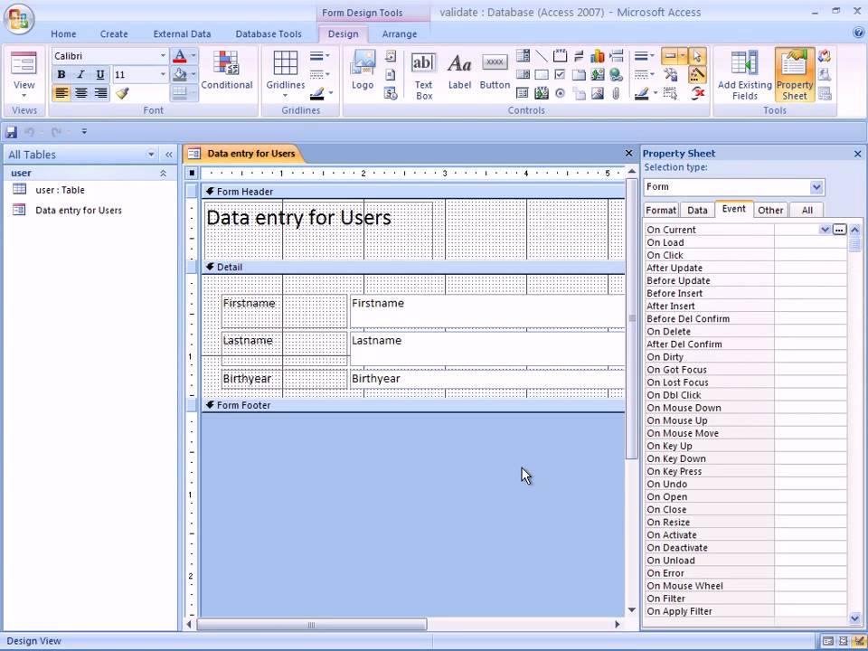 Using a conditional statement to validate a data entry form in MS ...