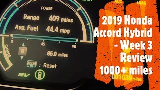 Honda Accord Hybrid 2019 - Week 3 Review - 1000+ Miles Driven MPG and 3 Engine Modes