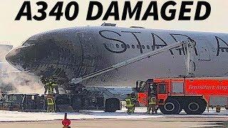 LUFTHANSA A340 DAMAGED Due to TUG FIRE