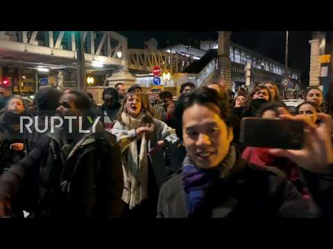 France: Demonstrators protest outside Bouffes du Nord as Macron attends play