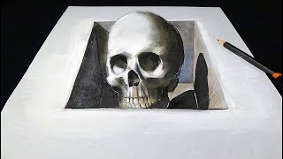 Skull in the Hole - Drawing 3D Skull Illusion - Vamos