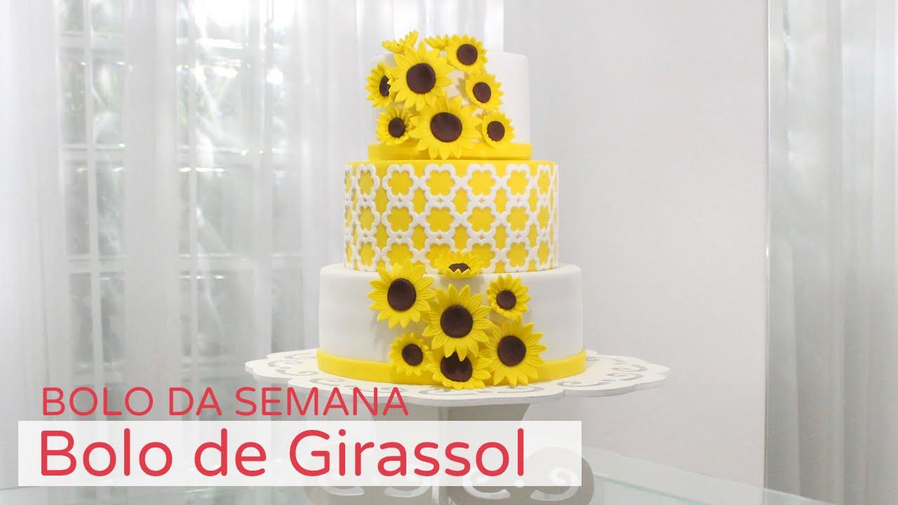 Bolo de Girassol Bolo da Semana YouTube # Decoracao De Girassol Para Aniversario