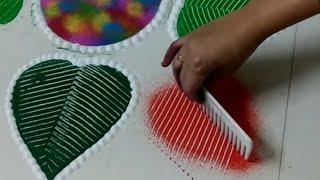 सबसे आसान रंगोली कंघी के साथ Latest Diwali Special Rangoli Using Comb by shilpa