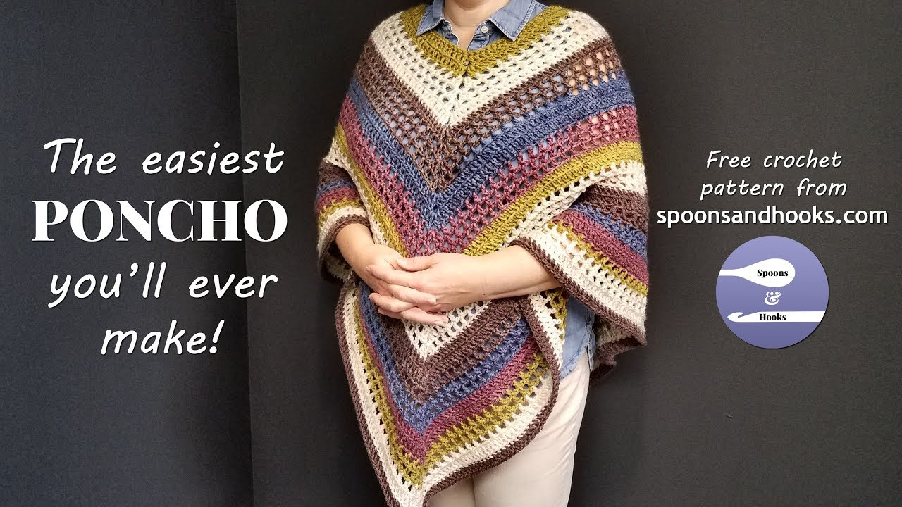 The Easiest Poncho Youll Ever Make Free Crochet Pattern Youtube