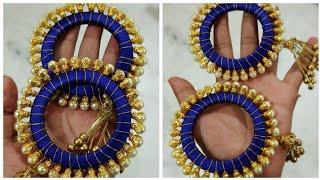 How To Make Designer Pearl Bangles/Latest Bangles/Beautiful Bangles At Home kada making with latkan