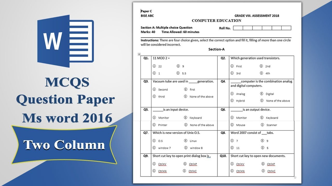 advanced excel multiple choice questions and answers