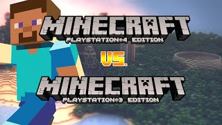 MineCraft PS4 vs PS3 Edition Review & Comparison| Playstation 4 Gameplay Larger Seeds+ New Music