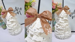 How to make super easy doily table top Christmas tree| Christmas decor 🎄🎀