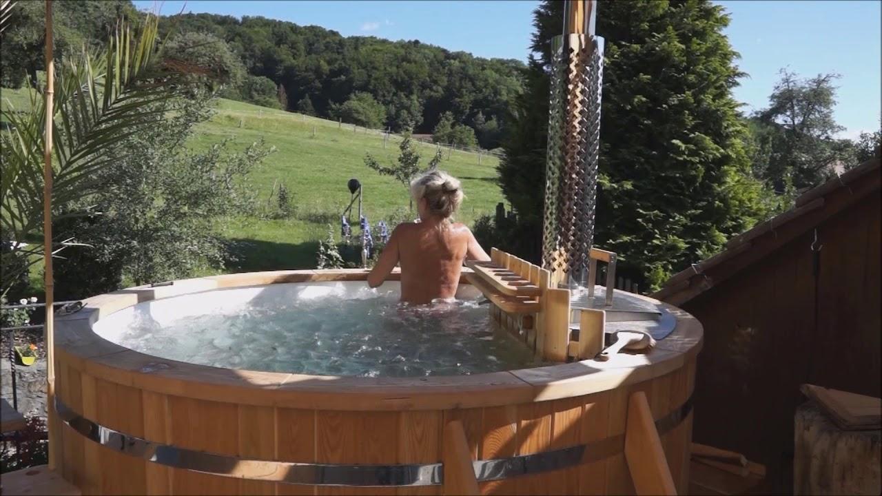 Timberin Wood Fired Hot Tub Badetonne Mir Holzofen Bain
