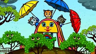 Песенки для котят - Дождик, дождик, уходи! | Считалочки - Три котенка | Мультик для малышей