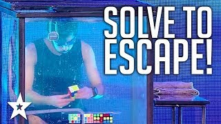 ESCAPE ARTIST Attempts 5 Rubix Cubes Underwater | Got Talent Global