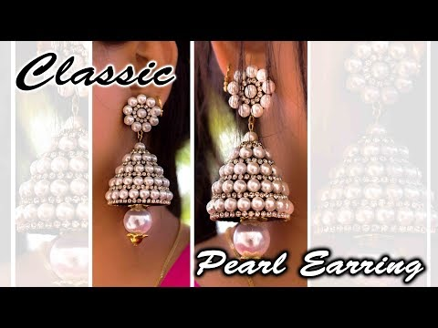 A classic Pearl Earring | Heavy pearl Earring | Made with paper | Handmade Jewelry