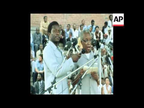 SYND 8/12/80 PRESIDENT OF TANZANIA VISITS ROBERT MUGABE IN ZIMBABWE