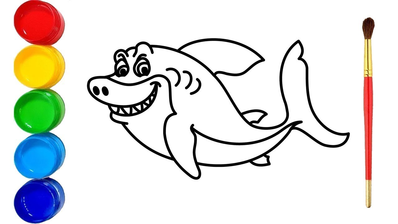 Baby Shark Drawing And Coloring For Kids - YouTube