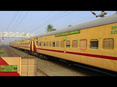 Latest UTKRISHT Upgraded!! KALKA DELHI MAIL at top speed sprints past Kolkata Jammu Tawi Express!!!