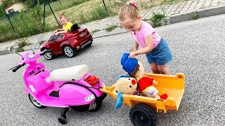 Little Girl Elis Ride On Pink Vespa 12V Power Wheel with Baby Doll and Thomas BMW X6