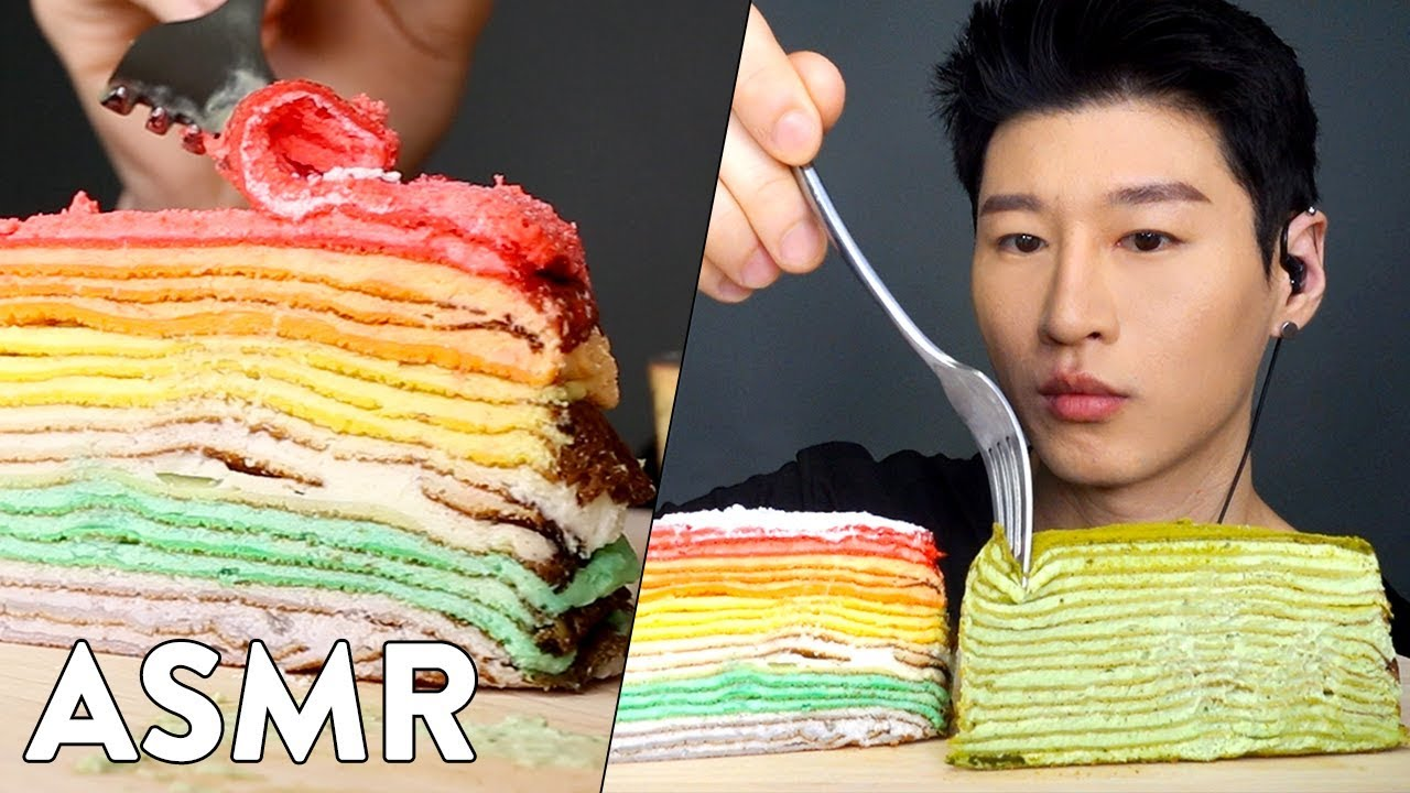Asmr Crepe Cake Rainbow Green Tea No Talking Sticky Eating Sounds Zach Choi Asmr