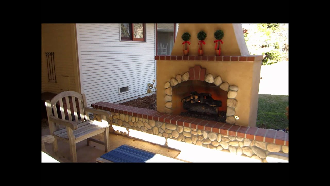 fair oaks outdoor fireplace w river rock and brick accents by gpt