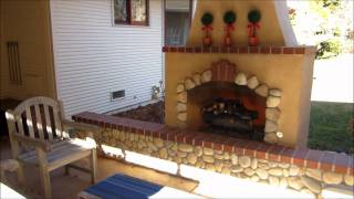 Fair Oaks Outdoor Fireplace W/ River Rock And Brick Accents By Gpt Construction