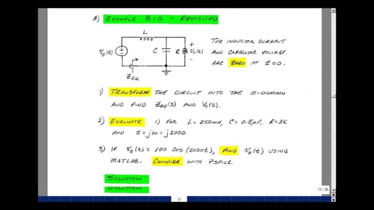 Ece202msu Chapter 10 Basic Circuit Analysis In The S Domain Youtube Real Life Example Of A Parallel