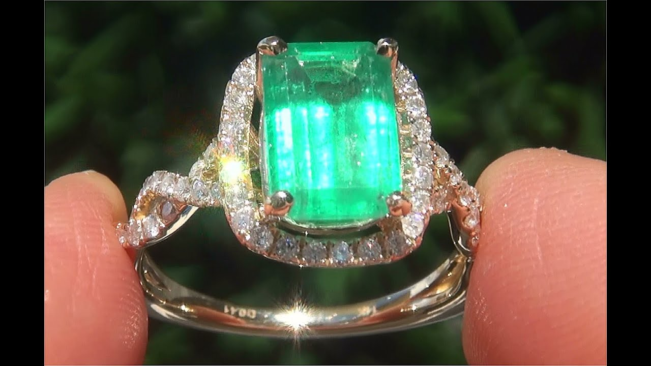 halo certified thediamondspecialist diamond ring engagement cut emerald f gia carat pin