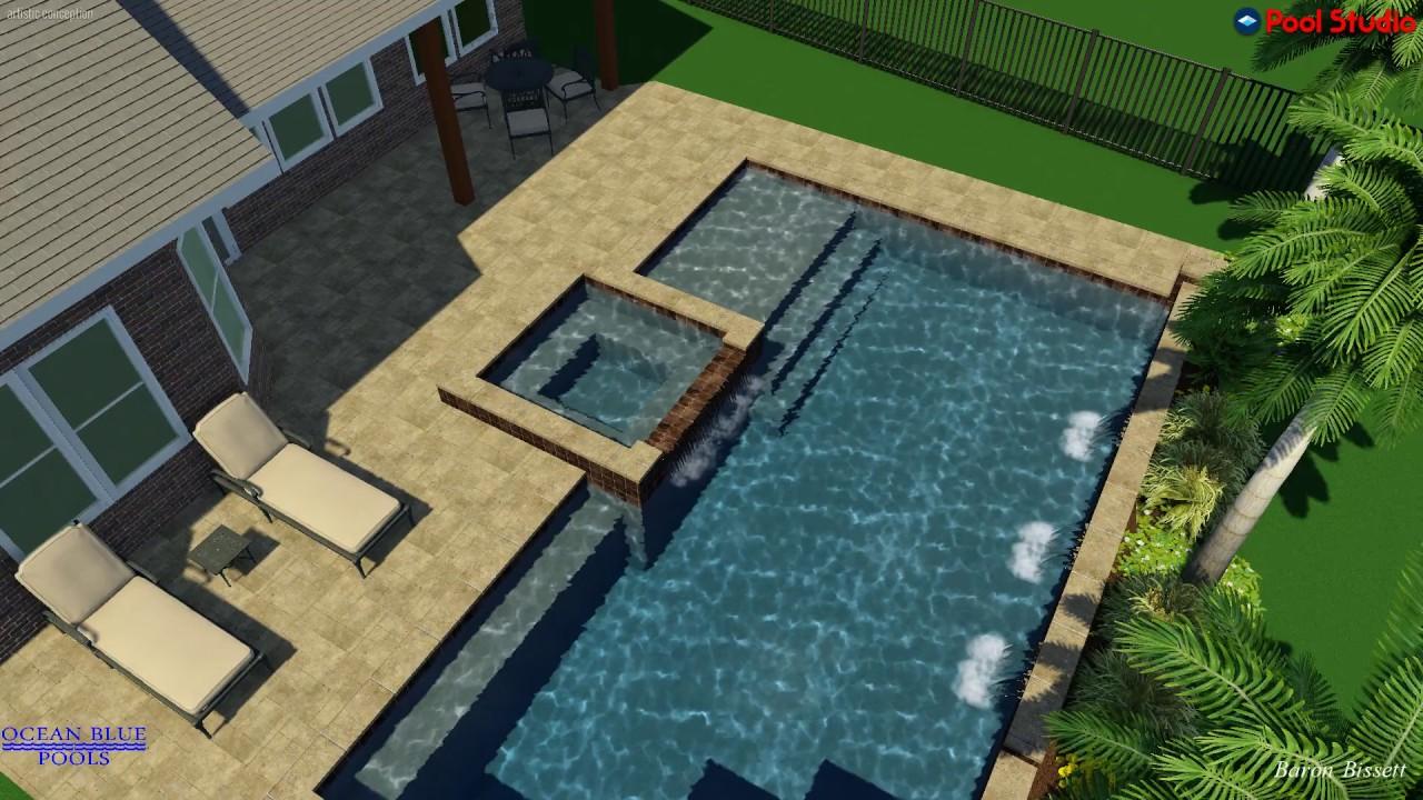 Ocean Blue Pools Swimming Pool Rendering Heather Straight Pool Youtube