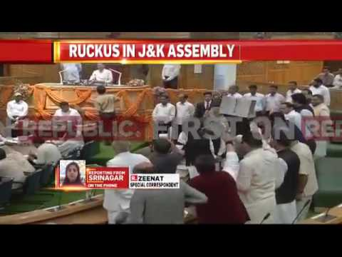 NC leaders protest against GST in Jammu and Kashmir Assembly