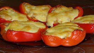 Что приготовить на ужин, лодочки из перцев, фаршированные курицей и овощами, мясные блюда рецепт.
