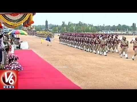 Police Parade In Telangana Formation Day 2018 Celebrations | Hyderabad | V6 News