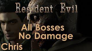 Resident Evil Remaster - All Bosses - Chris